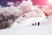 Group of Mountaineers Walking on Ice Field — Zdjęcie stockowe