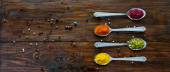 Variety of Eastern Spices in Silver Spoons — Stock Photo