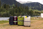 Travel Bags Staying on Wild Grassy Meadow — Stock Photo