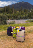 Travel Suitcases in Wilderness Area — Stock Photo