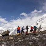 Mountaineers Walking Across Large Glacier — Fotografia Stock  #85442832