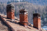 Old chimneys made of bricks — Stock Photo