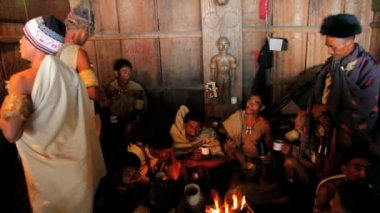 Khiamniungan tribe taking tea — Video Stock