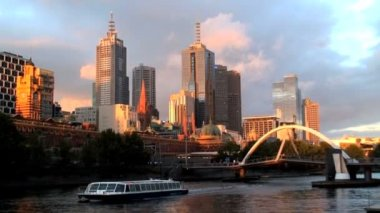 Melbourne city skyline — Stock Video