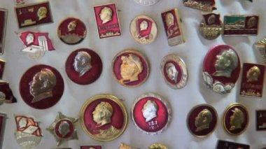 Chairman Mao badges Hong Kong — Stok video