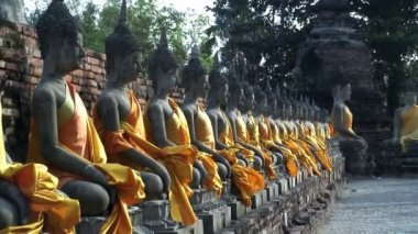 Wat Yal Chal Honkol Ayutthaya Line of Buddhas — Stock Video