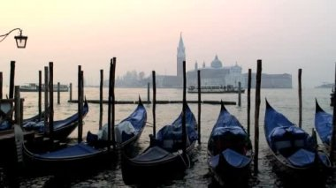 Gondolas from Piazza San Marco — Stock Video