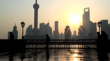 Sunrise over the Bund ,Shanghai — Stock Video