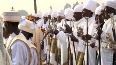 Priests procession of Timket celebration — Video Stock