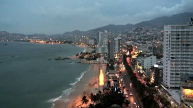 Acapulco coastline city at dusk Mexico — Vídeo de Stock