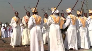 Priests Celebrating Timket — Video Stock