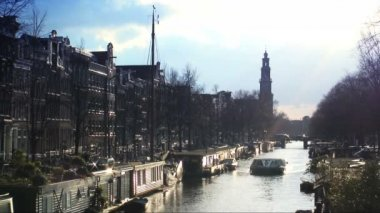 Sightseeing boat in Amsterdam — Stock Video