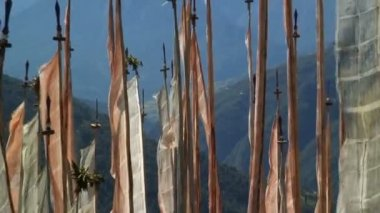 Prayer Flags on a hillside — Stock Video