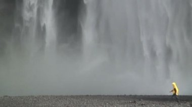 Skogafoss waterfall Southern coast Iceland — Stok video