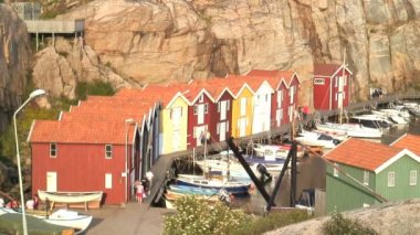 Boat huts in Smogen Bohuslaen coast — Stock Video