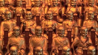 Lines of Golden Statues of the Buddha — Stock Video