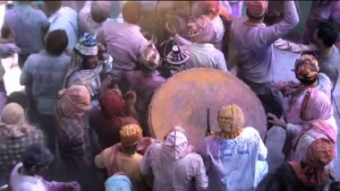 Holi Festival nr Mathura Celebrations — Vídeo de stock