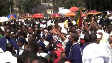 Priests , procession of Timket celebration — Video Stock