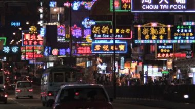 Neon lights busy Nathan Road — Stock Video