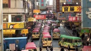 Busy city street Kowloon — Stock Video