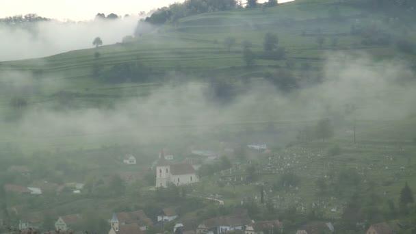 View over village in Romania — Vidéo
