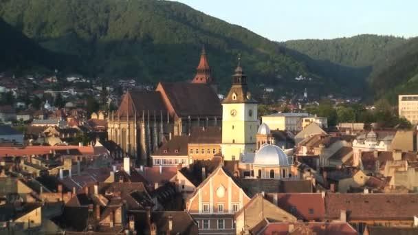 Brasov townscape view in Romania — Vidéo