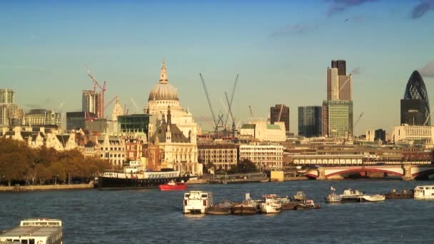 River Thames & London Skyline — Vidéo