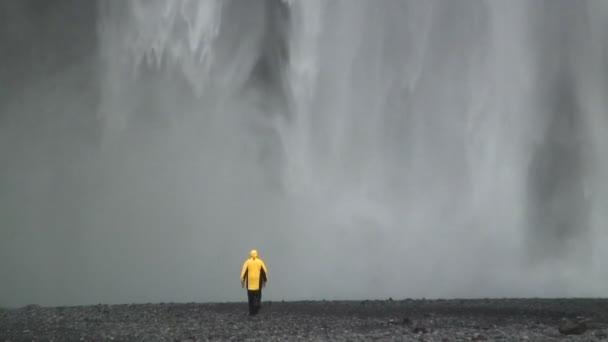 Skogafoss waterfall Southern coast Iceland — Vidéo