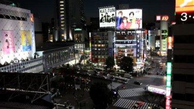 Nighttime view at Shibuya district — Video Stock