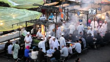 People eating at food Stalls — Stock Video