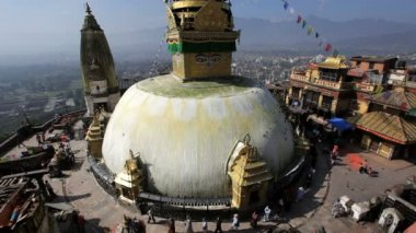 Swayambhunath Stupa or Monkey temple — Stock Video