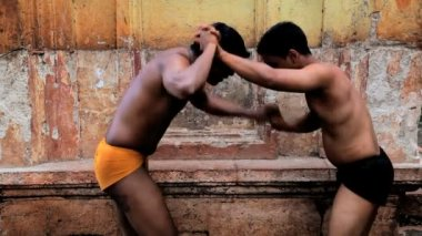 Two local Kushti wrestlers in competition — Stock Video