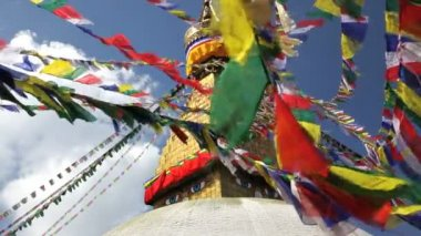 View of the Boudhanath Stupa which is one of the holiest Buddhist sites in Kathmandu — Stock Video