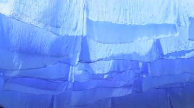 Skeins of blue dyed fabric — Stockvideo
