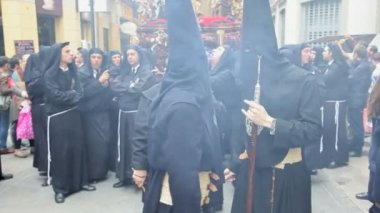 Hooded Nazarenos parade — Stock Video