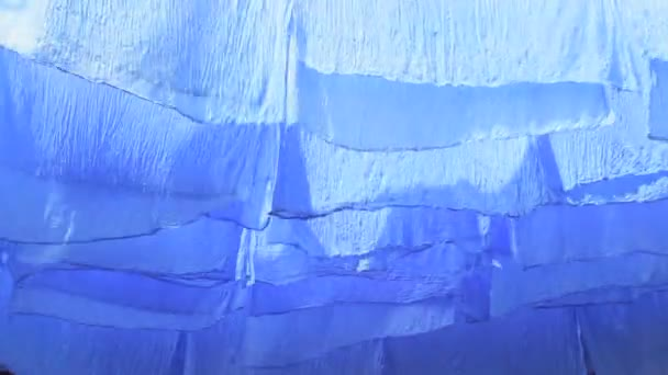 Skeins of blue dyed fabric — Vidéo