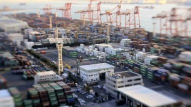 Japanese Cargo Container Port — Stock Video