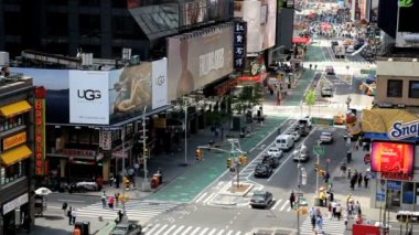 Times Square New York with billboards neon lights and Illuminated signs, USA — Stok video
