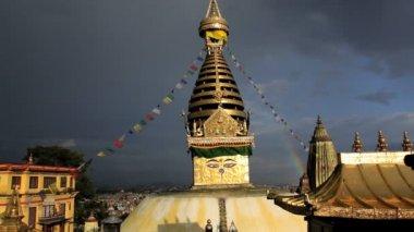 Swayambhunath Stupa or Monkey temple, Kathmandu, Nepal — Stock Video