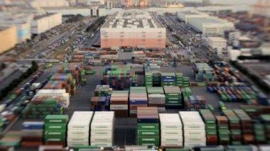 Busy Japanese Cargo Container Port — Vídeo de stock