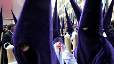 Hooded Nazarenos parade — Stock Video