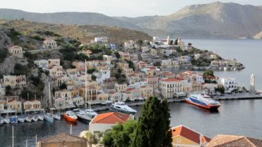 Simi Town Houses by the beautiful harbour  Island of Symi,  Greece — Stock Video