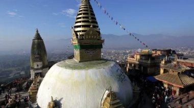 Swayambhunath Stupa or Monkey temple — Stock Video