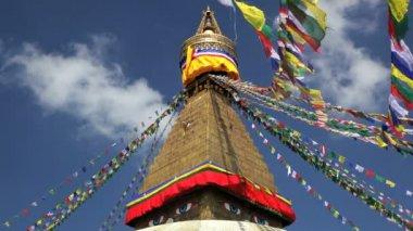 Prayer flags flying from the  Boudhanath Stupa, Kathmandu, Nepal — Stock Video