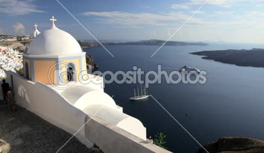 Thira overlooking the Aegean Sea  Greece — Stock Video