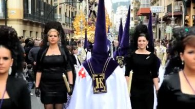 Hooded Nazarenos parade — Wideo stockowe