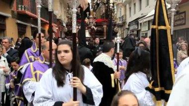 Hooded Nazarenos parade — 图库视频影像