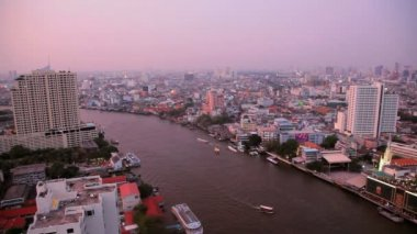 Chao Phraya River and Bangkok Skyline — Stock Video