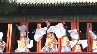Female Chinese dancers performing — Stock Video