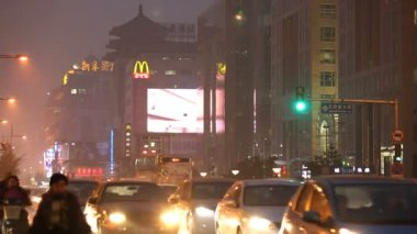 City smog and pollution night time — Video Stock